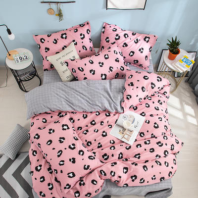 2019新款全棉12868四件套 1.2m(4英尺)床 簡單點(紫粉)