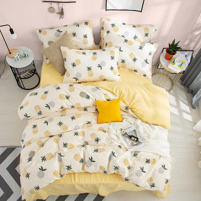2019新款全棉12868四件套 1.2m(4英尺)床 可愛菠蘿(嫩黃)