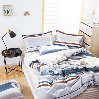2020新款全棉喷气13070床笠四件套床单四件套三件套-棚拍图 1.2m床单款四件套 摩根(中灰)