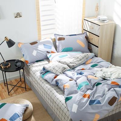 2020新款全棉喷气13070床笠四件套床单四件套三件套-棚拍图 1.2m床单款四件套 普拉之梦(青灰)
