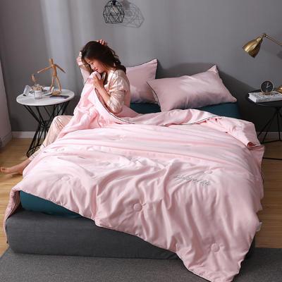 2020年新款水洗真丝刺绣夏被夏凉被 150x200cm单夏被 粉玉色