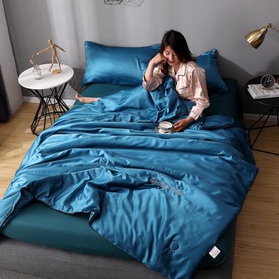 2020年新款水洗真丝刺绣夏被夏凉被 150x200cm单夏被 孔雀蓝