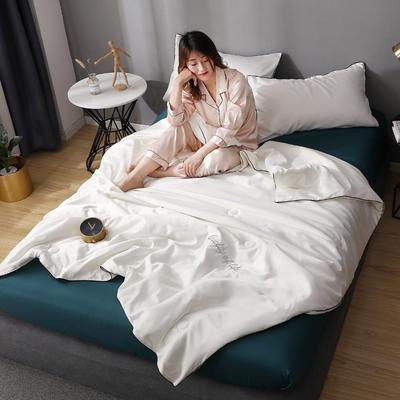 2020年新款水洗真丝刺绣夏被夏凉被 150x200cm单夏被 奶白色