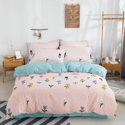 2020新款全棉喷气13070床笠四件套床单四件套三件套-棚拍图 1.2m床单款三件套 花儿朵朵(玉粉)