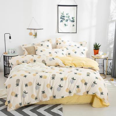 2020新款全棉喷气13070床笠四件套床单四件套三件套-棚拍图 1.2m床单款三件套 可爱菠萝(嫩黄)