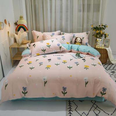 2020新款全棉喷气13070床笠四件套床单四件套三件套-实拍图 1.2m床单款三件套 花儿朵朵