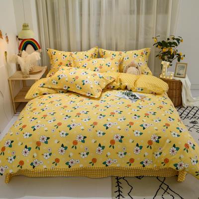 2020新款全棉喷气13070床笠四件套床单四件套三件套-实拍图 1.2m床单款三件套 梦里花香