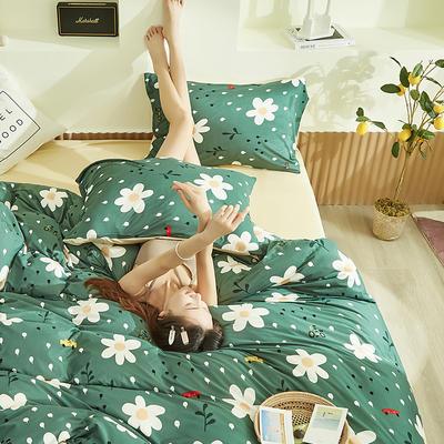 2020新款A类印花针织棉四件套床笠三件套 1.2m床单款三件套 繁星点点-绿