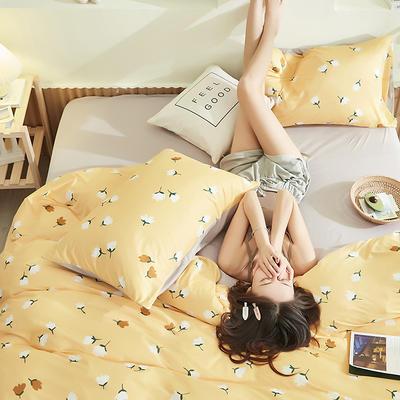 2020新款A类印花针织棉四件套床笠三件套 1.2m床单款三件套 花期-黄
