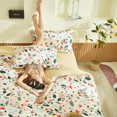 2020新款A类印花针织棉四件套床笠三件套 1.2m床单款三件套 花漾-白