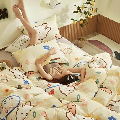 2020新款A类印花针织棉四件套床笠三件套 1.2m床单款三件套 萝卜兔-米黄