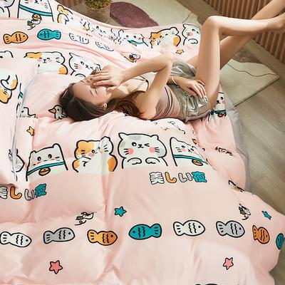 2020新款A类印花针织棉四件套床笠三件套 1.2m床单款三件套 美丽之夜-粉