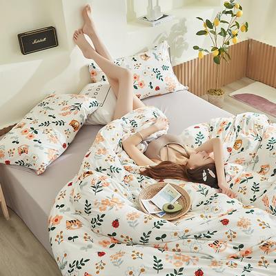 2020新款A类印花针织棉四件套床笠三件套 1.2m床单款三件套 喵趣-白