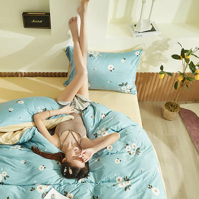 2020新款A类印花针织棉四件套床笠三件套 1.2m床单款三件套 思念-兰