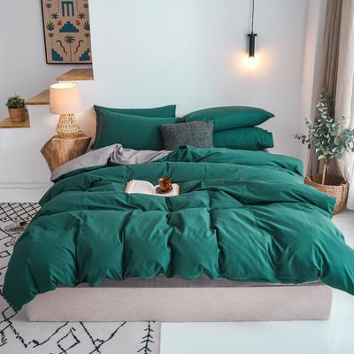 2020新款全棉纯色水洗棉四件套 1.5m床单款四件套 翠绿