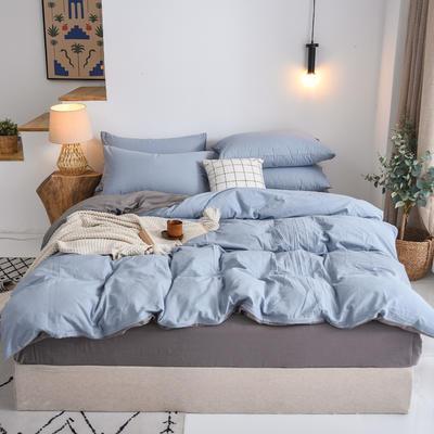 2020新款全棉纯色水洗棉四件套 1.5m床单款四件套 浅蓝