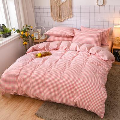 2020新款全棉色织水洗棉四件套 1.5m床单款四件套 桃红小格