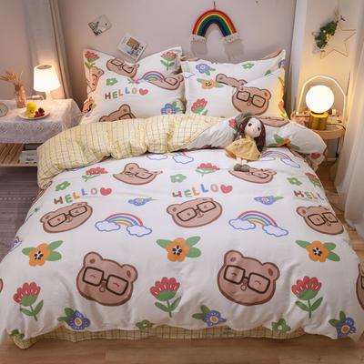 2020新款全棉喷气13070床笠四件套床单四件套三件套-实拍图 1.2m床单款四件套 熊孩子