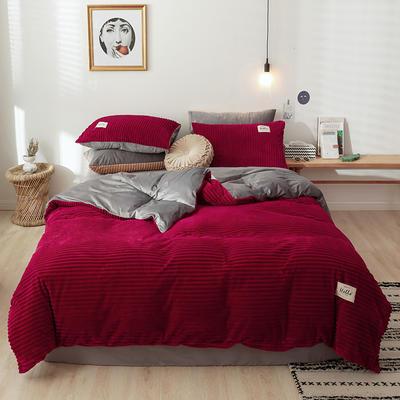 2019新款魔法绒四件套  水晶绒四件套 1.2m床单款三件套 时尚红