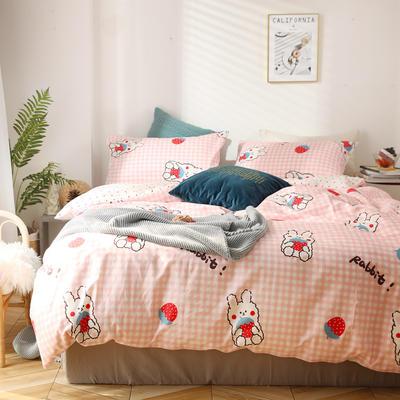 2020新款全棉四件套-北欧小清新系列 1.2m床单款三件套 草莓兔