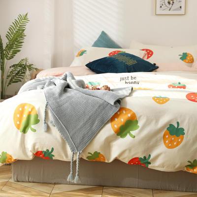 2020新款全棉四件套-北欧小清新系列 1.2m床单款三件套 大草莓