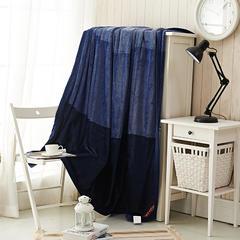 讴思  洁洁绒纯色色织垫盖两用加厚超柔保暖绒毯 200cmx230cm 深蓝色