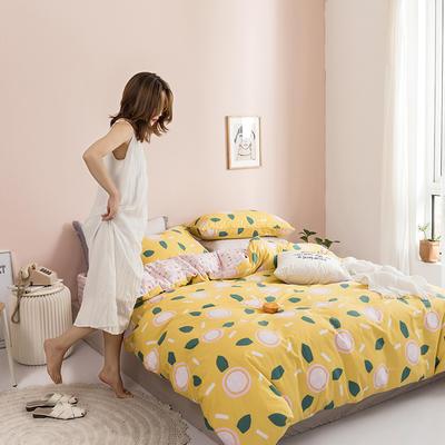 2019新款130*70全棉套件 1.2m床单款四件套 14闺蜜-黄