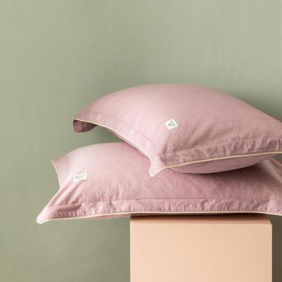 2020新款130*70纯色全棉单品枕套 48cmX74cm/一对 5胭脂