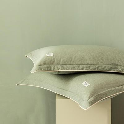 2020新款130*70纯色全棉单品枕套 48cmX74cm/一对 7山葵