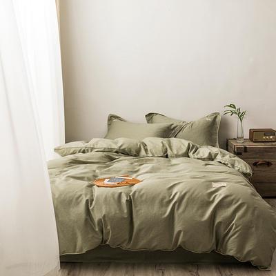 2020新款130*70纯色全棉四件套 1.2m床单款四件套 7山葵