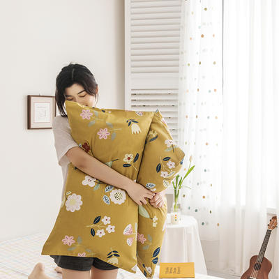 2020新款全棉印花单品枕套 48cmX74cm/对 科莫花园 黄