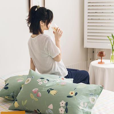 2020新款全棉印花单品枕套 48cmX74cm/对 科莫花园 绿