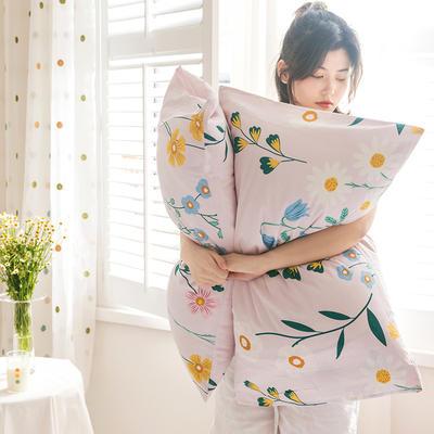 2020新款全棉印花单品枕套 48cmX74cm/对 兰亭浅语 粉