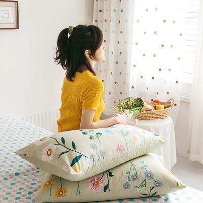 2020新款全棉印花单品枕套 48cmX74cm/对 兰亭浅语 绿