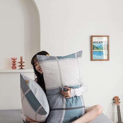 2020新款全棉印花单品枕套 48cmX74cm/对 摩卡 蓝