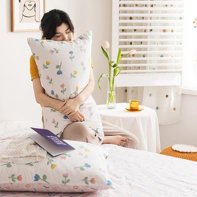 2020新款全棉印花单品枕套 48cmX74cm/对 小爱情 米