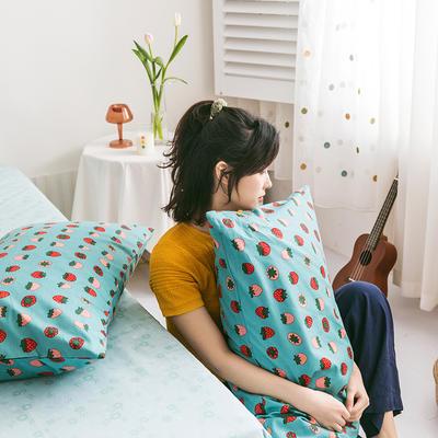 2020新款全棉印花单品枕套 48cmX74cm/对 小草莓 绿