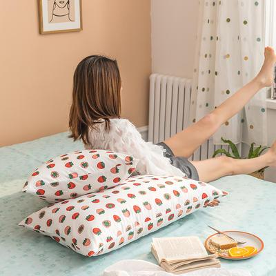 2020新款全棉印花单品枕套 48cmX74cm/对 小草莓 米