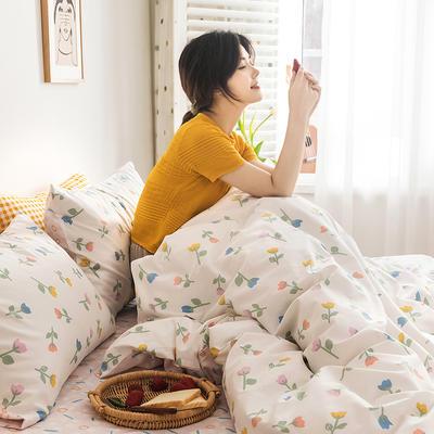 2020新款全棉印花单品床笠 150cmx200cm 小爱情 米