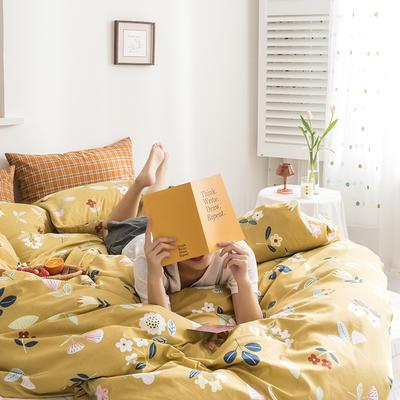 2020新款全棉印花单品床单 180cmx230cm 科莫花园 黄