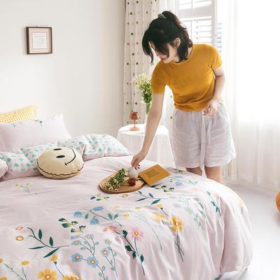 2020新款全棉印花单品床单 180cmx230cm 兰亭浅语 粉
