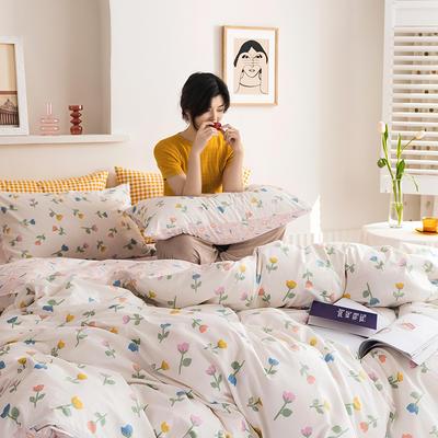 2020新款全棉印花单品床单 180cmx230cm 小爱情 米