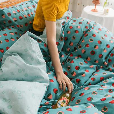 2020新款全棉印花单品床单 180cmx230cm 小草莓 绿