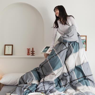2020新款全棉印花单品被套 160x210cm 摩卡 蓝