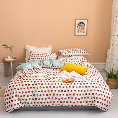2020新款全棉印花四件套 1.2m床单款四件套 小草莓 米