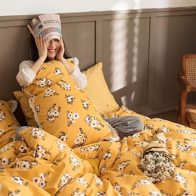 2020新款全棉印花花边款四件套 1.5m床单款四件套 花蜜 黄