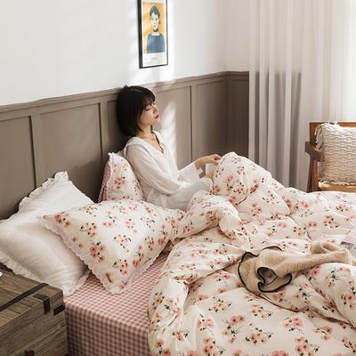 2020新款全棉印花花边款四件套 1.5m床单款四件套 樱花