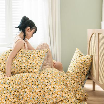 2020新款全棉四件套花卉系列 1.5m床单款四件套 雏菊 黄