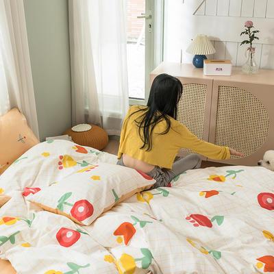 2020新款全棉四件套花卉系列 1.5m床单款四件套 芳华 米