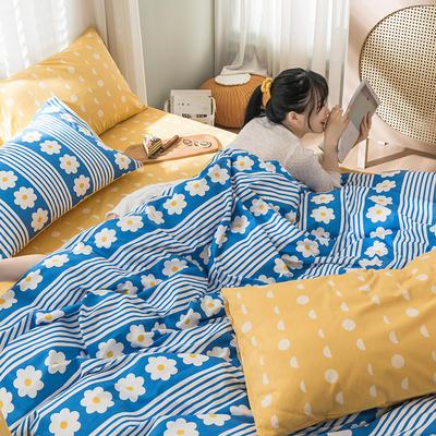 2020新款全棉四件套花卉系列 1.5m床单款四件套 小清新 蓝